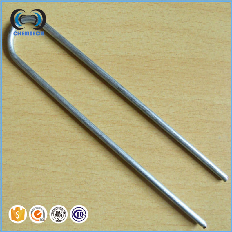 Half Green Artificial Grass Turf Galvanised U Pins Metal Peg Staples / Galvanised fixing pins