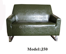 Vintage Style Green Color Cheap two Seat Leather Sofa Standard Sofa Size