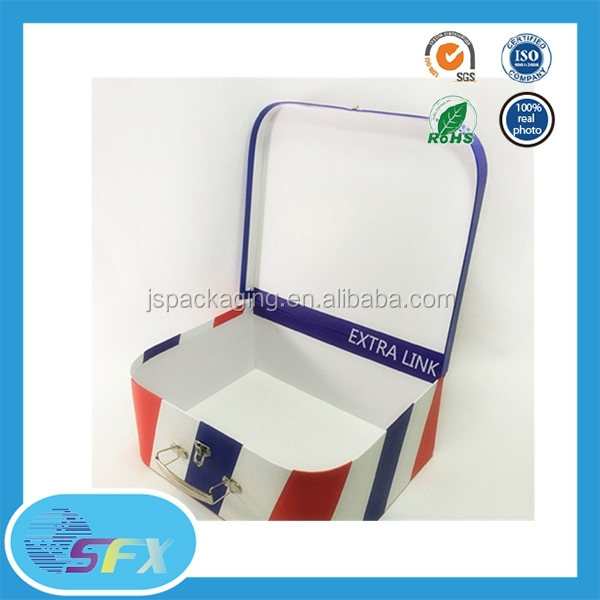 100% quality ensure recycling mini suitcase gift box paper gift box with lock