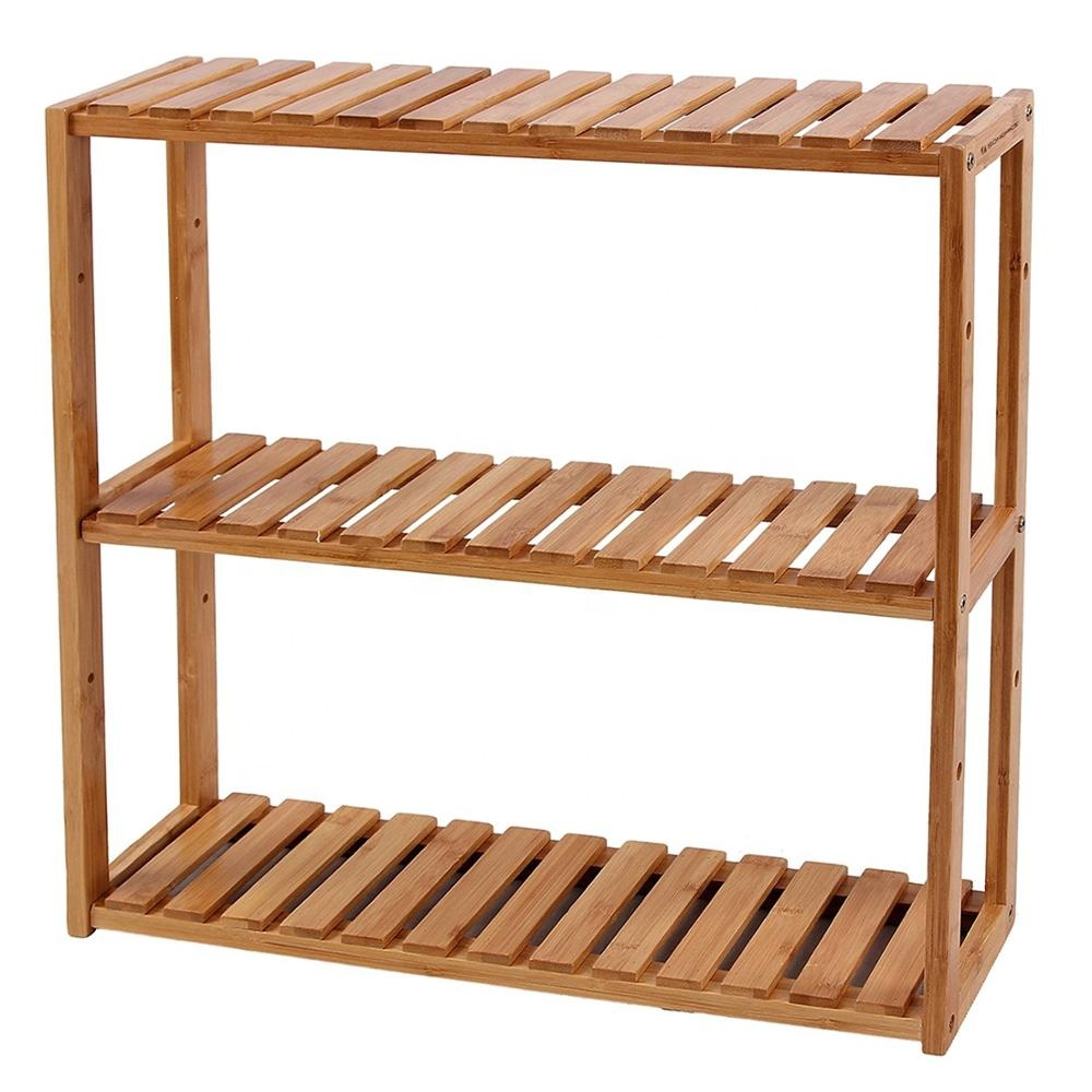 Adjustable bamboo bathroom <strong>shelf</strong> with 3-tier