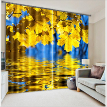 Water reflection Maple Leaf Printing stereo Five-star Hotel Living Room 3d Curtain