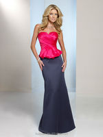 blue red combine satin sleeveless full length formal evening dress