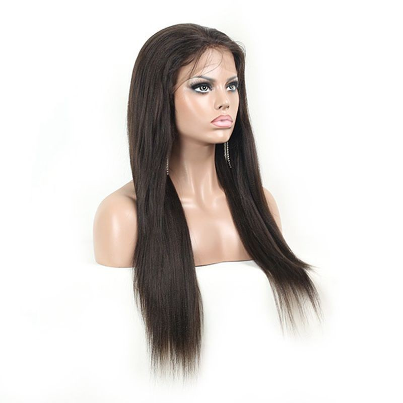"8A grade 8""-28"" instock kinky straight lace wig with baby hair brazilian human hair italian yaki full lace wig for women"