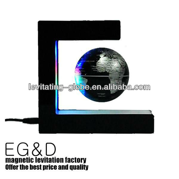 E shape magnetic Rotating and Floating globe with 4pcs LEd, Levitating globe,
