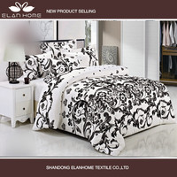 simple black and white colored microfiber fabric bedroom adult being flocking floral comforter bedding sets