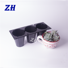 3 cells large volume plastic indoor flower and plant nursery pot