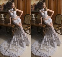 SPD52 Sexy Design Long See Through Lace Evening Dresses High Neck Appliqued Party Gown White Prom Dress
