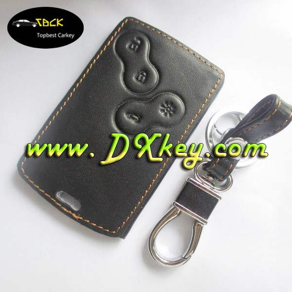 Highly competitive price genuine leather key for 4 buttons renault card key case leather key case