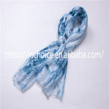 Elegant Smooth Blue Ink Style Voile Lady Scarf Wrap Shawl