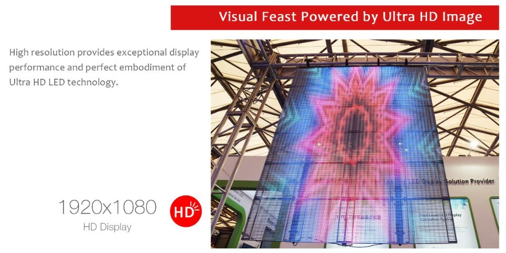 High Brightness Effect Transparent Glass LED Display 6000nits
