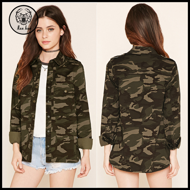 2016 Women 100% Cotton Winter Camouflage Military Jacket