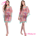 Drop Shipping Pink Cloak Style Woman Dresses Cover Up Beachwear