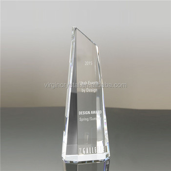 Cheap crystal glass trophy award blank for 3d laser engraving logo design
