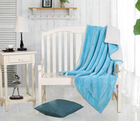 Light blue throw twin size door to door service directly from factory wholesale sherpa blanket