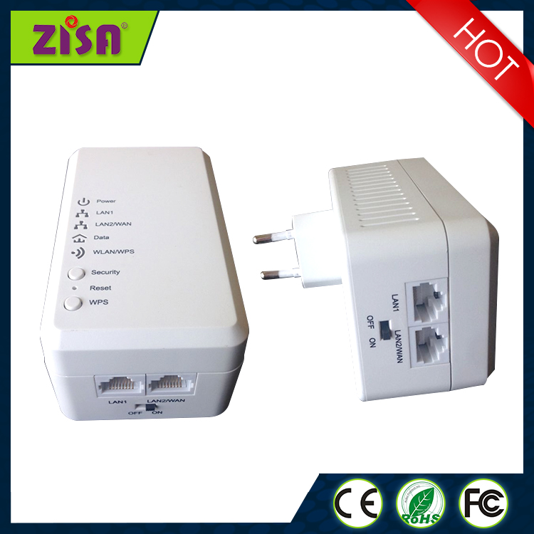 ZISA PL600W 500Mbps Competitive Price WiFi Wallmount powerline Adapter For Transmit Wifi