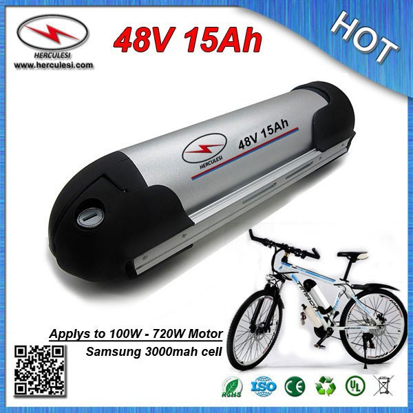 High Quality 48V 15Ah water bottle Li-ion Battery for Bike with 18650 Samsung 3000mah cell 15A BMS and Charger