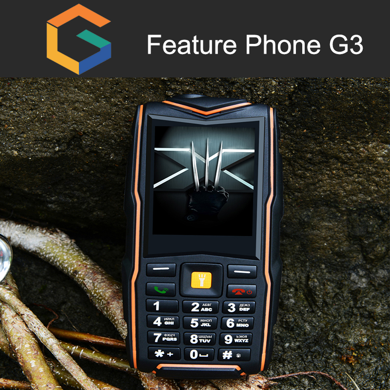 2.4 Inch dual sim CDMA mobile IP67 Waterproof Rugged feature mobile Phone G3