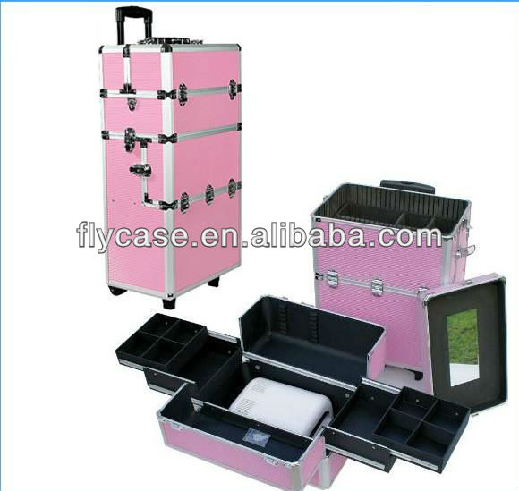 2014 new design Aluminum make up trolley beauty case in pink ,trolley cosmetic case ,trolley beauty case ,size :620*330*200MM