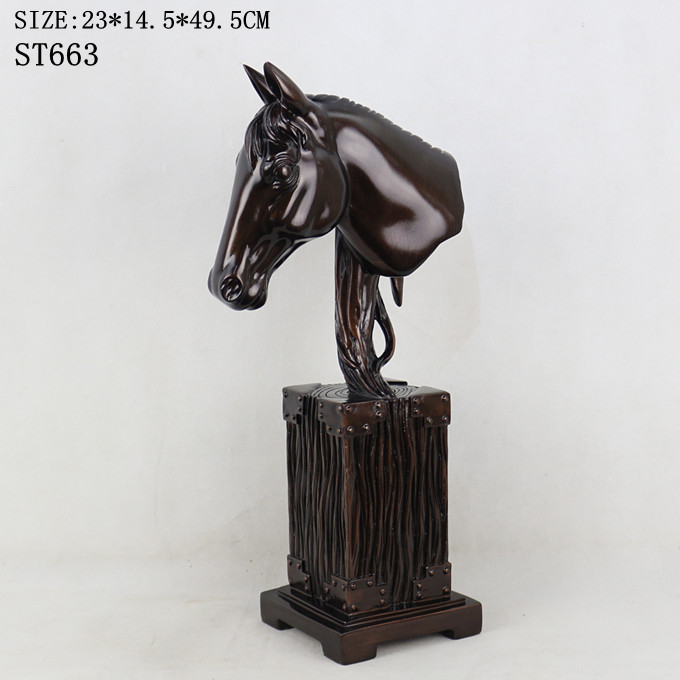 Home decoration hotel lobby ornament large table polyresin horse head figure