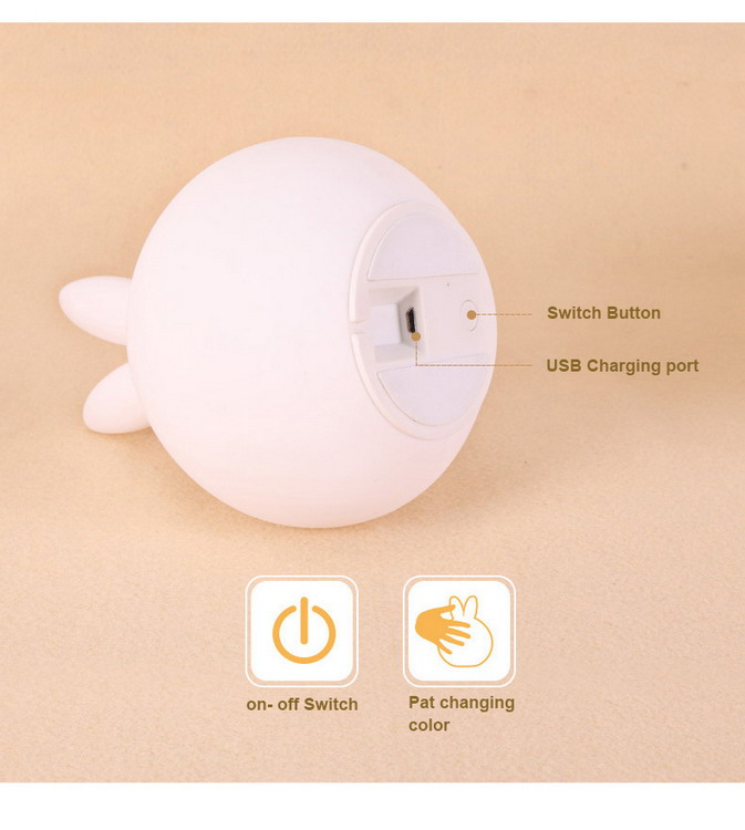 2017 Small Baby LED night Light mini toy touch silicone soft LED light