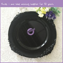 PZ37620 Cheap Black Plastic Charger Plate for Wedding Banquet