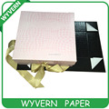 Rectangle paper customized folding box with ribbon