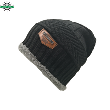 100% acrylic winter hat knited custom cap men beanie hat with Fur Warm Baggy Wool Knitted Hat