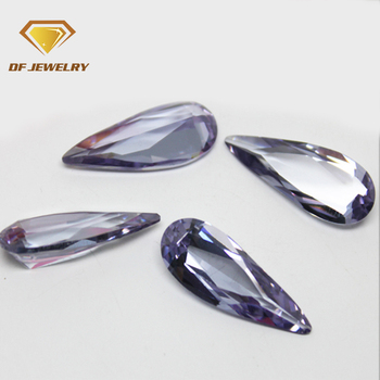 Alibaba hot sale pear big size lavender cubic zirconia price