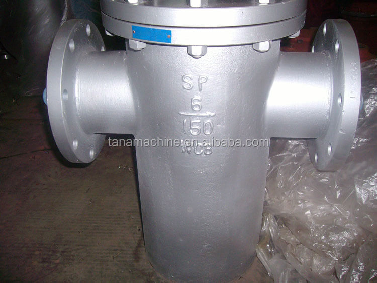 150lb Flanged straight through stainless steel mesh basket type strainer with drain plug