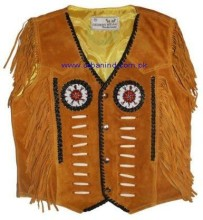 2016 Beaded Native American Western fringes Leather Vest for Men's