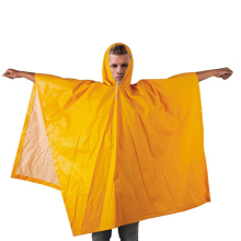 R018-Y 100% water proof PVC/ Polyester rain poncho with hood