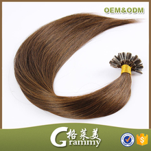 Wholesale cheap price straight double drawn remy brazilian pre-bonded keratin single strand hair extensions