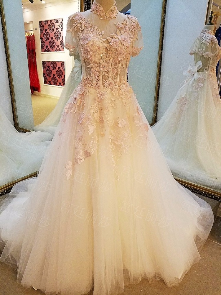 LS64201High collar short sleeve see through organza sweep train pink berta short wedding dress lace gown