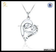 Mother and Child Necklace Engraved with A mother's love is forever Silver Jewelry