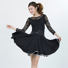 S-6XL 3 colors lace lyrical dance costume dress competition latin dance dress