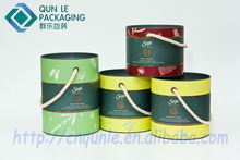 Luxury Big Paper Barrel with Portable Rope for Christmas Gifts Packaging