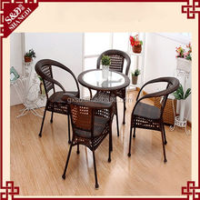 S.D four high back chairs round glass table for coffee shop
