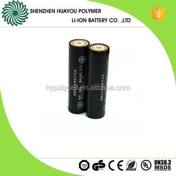 Rechargeable Polymer 186503.7v 2600mah lipo battery for Torch