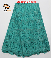 teal color organza sequence lace fabric OL10010 heavy african organza lace fabric