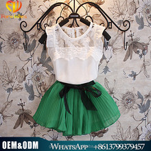 2016 latest kids boutique clothing set cheap girs two pcs skirt suits chiffon summer clothing set