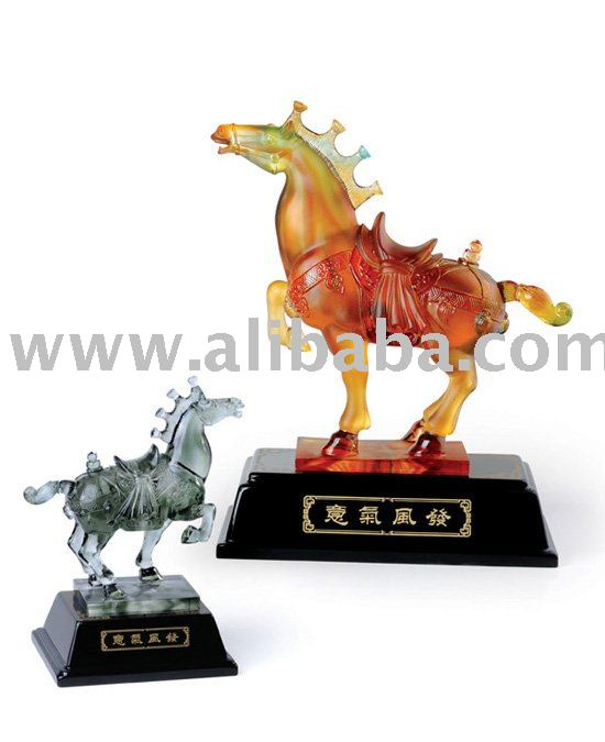 Tang horse Deluxe Art Crystal Glass Corporate Gift Home Office Decoration