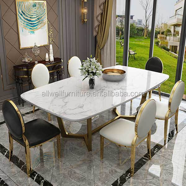 Luxury stainless steel frame dining table designs