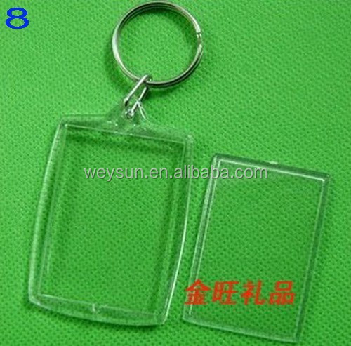 DHL Freeshipping Min 500pcs Blank Acrylic Keychains key chains Insert Photo plastic Keyrings 08