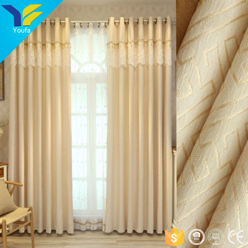 Guangzhou elegant design hotel office room curtains chenille luxury curtains for the living room window