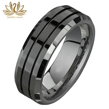 Tungsten Carbide Rings 8mm Black Polished Beveled Edge Double Groove Wedding Bands Custom Engraved Logo