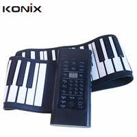 Konix Flexible Electronic Hand Roll Piano 61 Keys Roll Up Piano Keyboard For Kids Musical Practising