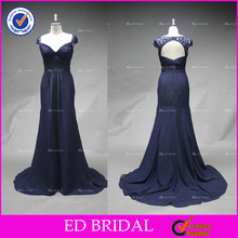 ED Bridal Sexy Lace Cap Sleeve Sweetheart Neckline Mermaid Navy Blue Chiffon Evening Dress In China 2017