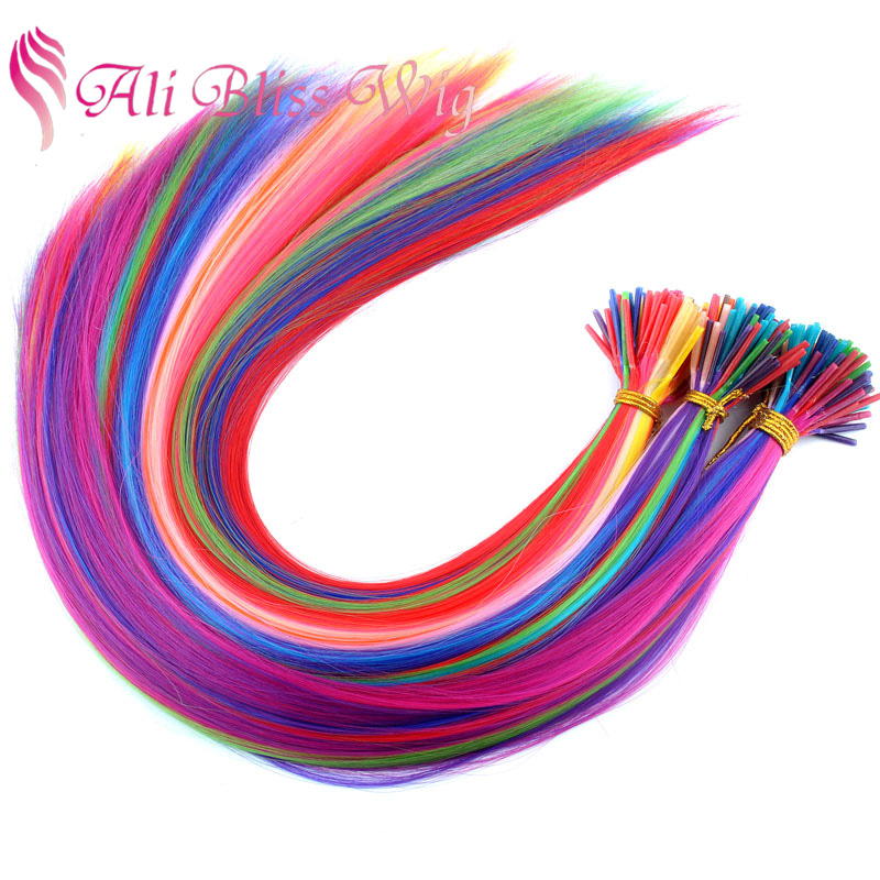 Solid Red Purple Violet Blue Green Orange Rose Khaki Fuchsia Salmon Pink Mint Brown Yellow Feather Hair Extension for Party