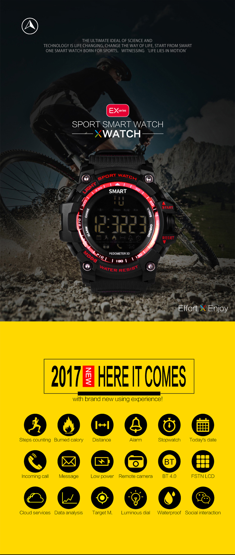 "E16 1.12"" FSTN LCD Dispaly incoming call reminding IP67 Waterproof CR2032 button battery BT 4.0 version sport wristwatch"