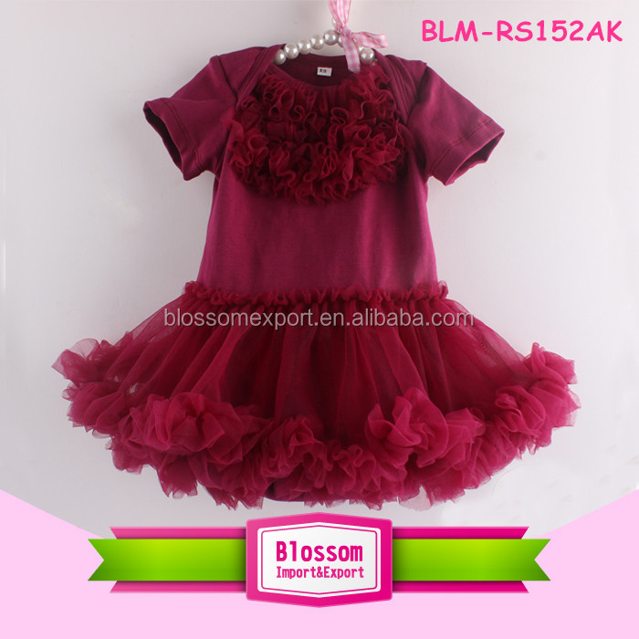New style girls hot pink lace top tutu bodysuit cotton baby rompers